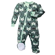ZippyJamz Organic Baby Footed PJs w/Inseam Zipper ~ Quiet Fox Green (6-9 Mos)