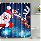 Merry Christmas Season Eve New Year Decorative Decor Gift Shower Curtain, Polyester Fabric Bathroom Shower Curtain Set with Hooks 72x72 inch (Merry Christmas, 72'' W x 72'' H)