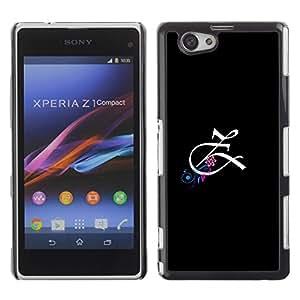 Be Good Phone Accessory // Dura Cáscara cubierta Protectora Caso Carcasa Funda de Protección para Sony Xperia Z1 Compact D5503 // Initial Letter Calligraphy Z