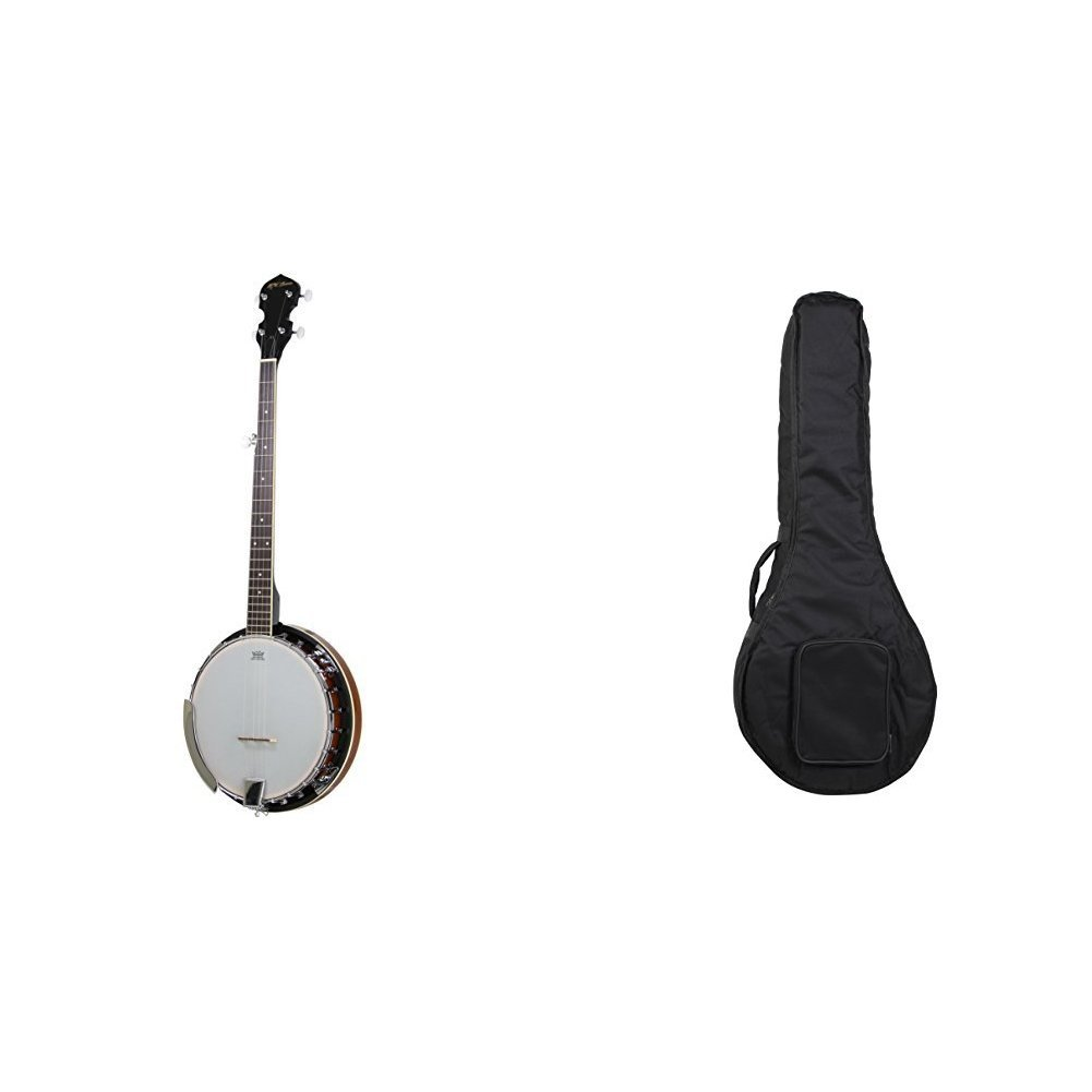 5-String Banjo 24 Bracket with Closed Solid Back and Geared 5th Tuner By Jameson Guitars & Jameson Banjo Padded Gig Bag Case with Shoulder Strap by Jameson Guitars (Image #1)