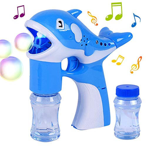 Music Bubble Machine Gun Sticks Magic Toy, Light Up Bubble Machine Automatic Maker Machine Toy for Kids Adult Children, Premium Music Bubble Machine Used in Party Wedding Pink and Blue Color -