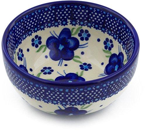 Polish Pottery 4¾-inch Bowl (Bleu-belle Fleur Theme) + Certificate of Authenticity