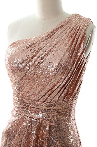 Gown Short Bridesmaid One Sequin Cocktail Light Gold Shoulder Fomral Dress MACloth Women zYq50xHB