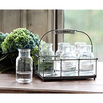 Amazon Com Antique Style Wire Caddy With Milk Bottles Vases Garden Amp Outdoor
