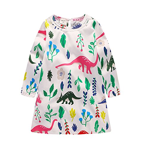 2Bunnies Girls Colorful Dinosaur All Over Print Long Sleeve Cotton Dress
