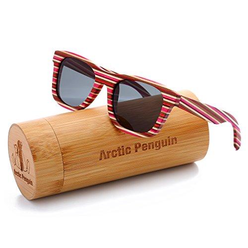New Wayfarer Polarized Sunglasses for Men Vintage Wood Sun Glasses Women Eyewear (red,grey) (New Mens Penguin)