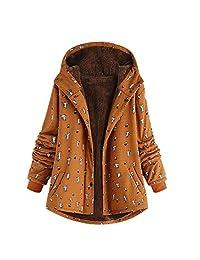 FANOUD Womens Cat Print Hooded Vintage Oversize Hasp Coats Warm Outwear