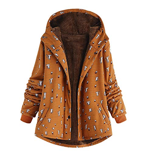 Vintage Blazer Velvet (Clearance Sale ! Women's Winter Warm Outwear Cat Print Hooded Pockets Vintage Oversize Hasp Coats Plus Velvet Outwear Overcoat (Orange, XL))