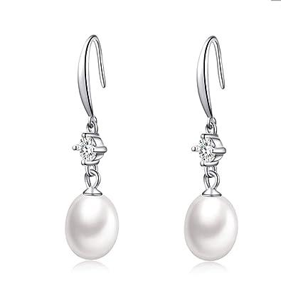 c8d51f50e650c CAT EYE JEWELS 925 Sterling Silver Freshwater Cultured Pearl Dangle  Earrings Wedding Gifts