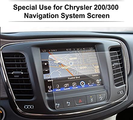 chrysler 200/300 / pacifica 8 4 inch glass car navigation screen protector,  lfotpp [9h] tempered glass infotainment center touch screen protector anti