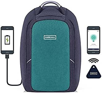 Carriall Columbus Smart Anti Theft Laptop Backpack with Bluetooth functionality (Green)
