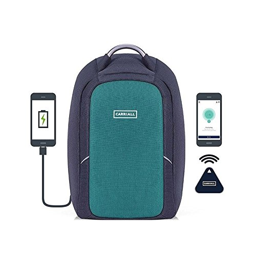 (CARRIALL Columbus Laptop Backpack with Bluetooth Connectivity with Mobile App, USB Charging Port, Anti-Cut, Anti-Theft, Water Resistant, Office Bag for Business,Work, College, Travel-Green and Black)