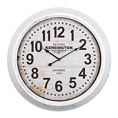Yosemite Home Decor Circular Iron Wall Clock Frame, White Face, Text, Black Hands - Number Type: alpha Numeric Type: Analog, oversize wall White Frame, White Face, Black Text, Black Hands - wall-clocks, living-room-decor, living-room - 51Q3ywl0a5L. SS400  -