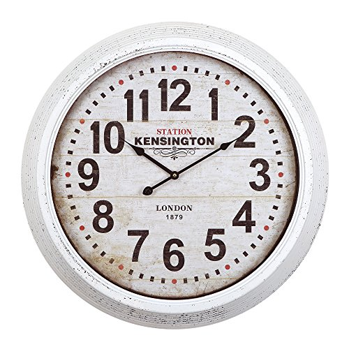 Yosemite Home Decor Circular Iron Wall Clock, Frame, White Face, Text, Black Hands