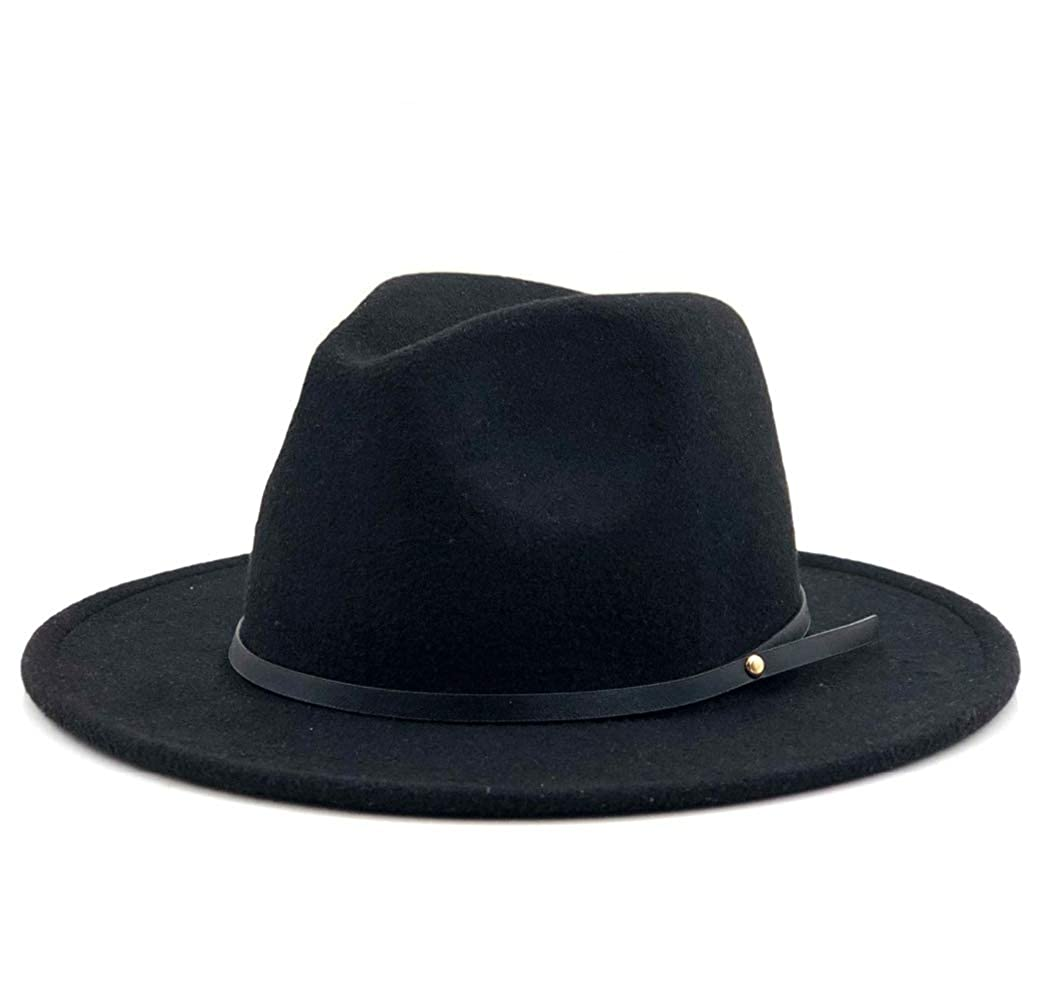 Unisex Vintage Fedora Hat Gangster Trilby Felt Cap with Wide Brim Jazz Caps