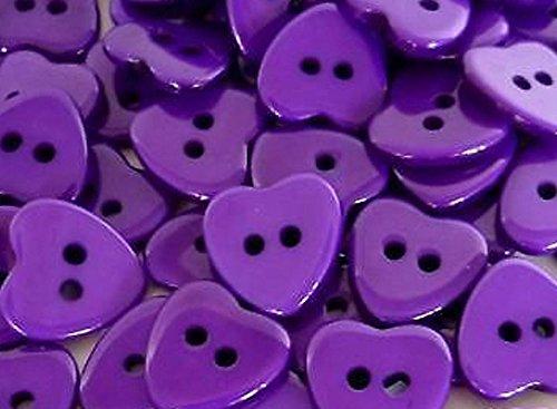 Domed Button Earrings (Plastic Heart Buttons Ø11mm, 20pcs Purple)