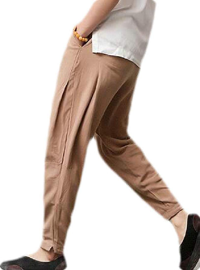 Frieed Men Chinese Style Loose Harem Homewear Casual Linen Pants Trousers