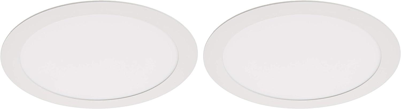 JANDEI - 2x Downlight LED 18W Redondo Plano De Empotrar Luz Blanca Neutra 4000K, Aluminio Aro Blanco Mate, Para Hueco De 200-205mm Blanco