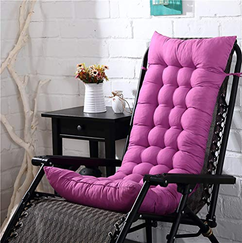 Suede Garden Pillow - KTOL High Back Lounger Patio Cushion Chair Pads, Patio Chair Patio Cushion Thicken Seat Back Cushion Armchair Chaise Lounge Pad Mat 100% Pearl Cotton-Pink Purple 43x16x3in