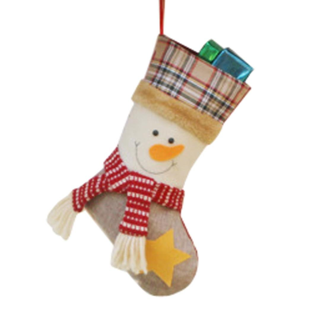 Staron Christmas Stockings, Christmas Gift Bag Santa Claus Snowman Elk Xmas Decoration Christmas Tree Ornament Sock Decors (Snowman)
