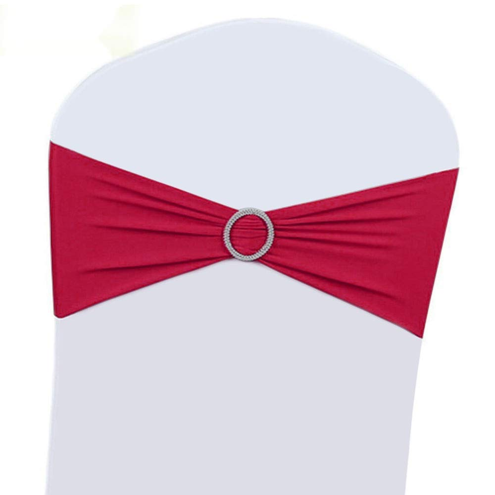 25 Pcs Spandex Stretch Chair Cover Sash Bow with Buckle BS (Rose Red)