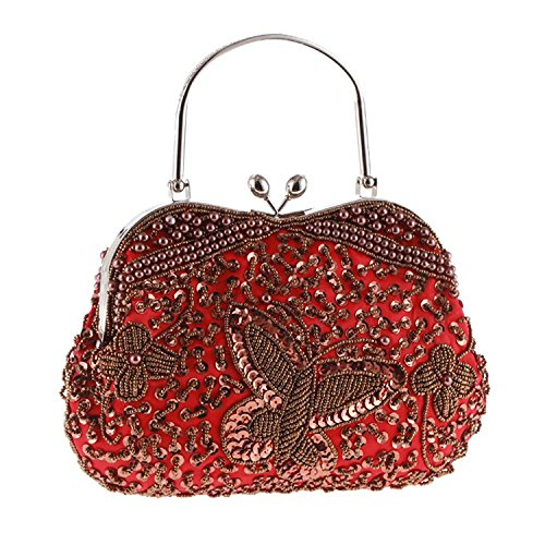 Womens Vintage Jewels Beaded Evening Clutch Bag Top-handle Prom Party Purse Formal Handbag(Red)