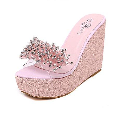 alto Heel fondo plataforma Wedge Zapatillas verano mujeres de grueso Casual sandalias de Confort impermeable Moda Pink talón las LvYuan rhinestones wZCqygERvw
