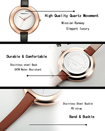 Top Plaza Ladies Red Fashion Big Face Watch Analog Quartz Thin PU Leather Blank Space Dial Daily Waterproof by Top Plaza (Image #5)