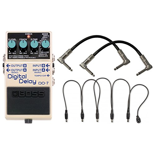 BOSS DD-7 Digital Delay Pedal w/ Power Supply Daisy Chain Cable and 2 Patch Cables