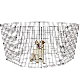 BV Pet Foldable Exercise Pen / Dog Playpen, 8 Panels with Single Door (42″H)