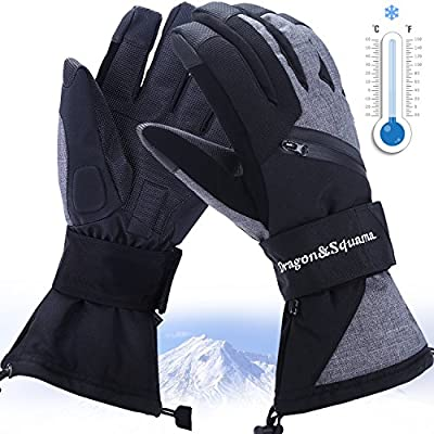Mens Ski Gloves, Waterproof 3M Thinsulate Thermal Warm Windproof Snow Sport Skiing Snowboarding, Winter Cold Weather Glove