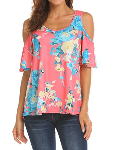 (Sherosa Women's Floral Print Cut Out Shoulder Short Sleeve T Shirt Tops Blouse (XXL, Orange Red))
