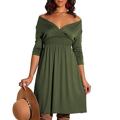 Amazon.com  Women Dress Fashion Ladies V-Neck Long Sleeve Solid Color Casual  Classic Belted Knee-Length Sheath Faux Black Wrap Dress  Clothing ec3f0b6fd