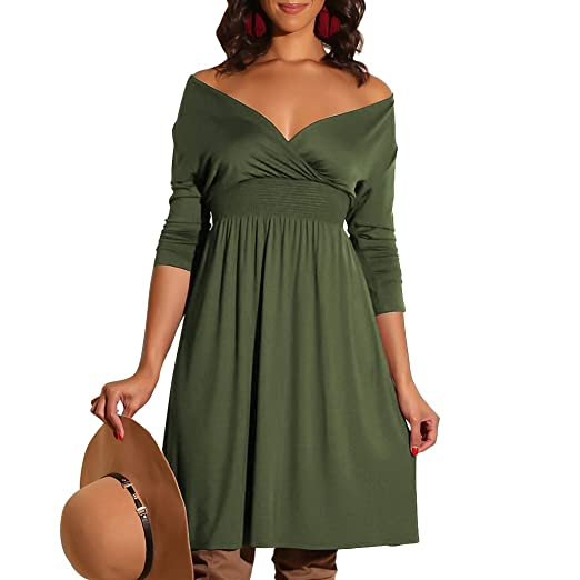 51fac0f616fe Womens Dresses Summer Casual Dress for Women Long Sleeve Solid Dresses  Party Beach Dresses Sundress Army