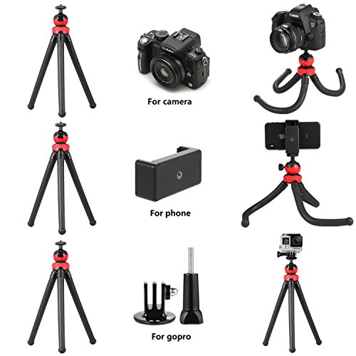 Flexible Tripod iPhone Cell Phone Tripod with Bluetooth Remote Control  Camera Travel Tripod for Canon Nikon Sony Sports Camera GoPro Weiruixin -