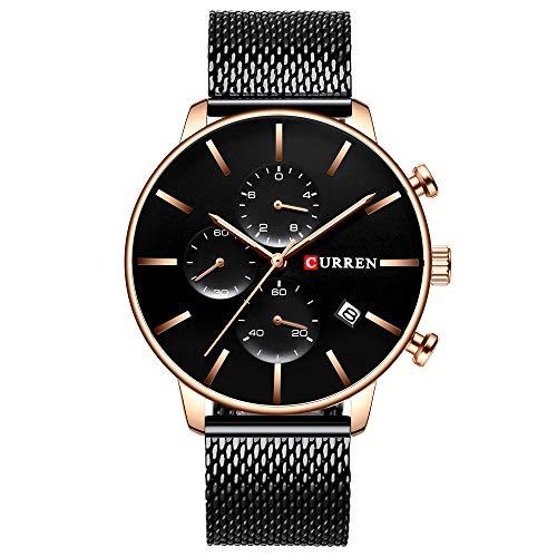 Business Chronograph Watch Men Quartz Wristwatches Waterproof Steel Mesh Watch Watches Men Reloj Hombre