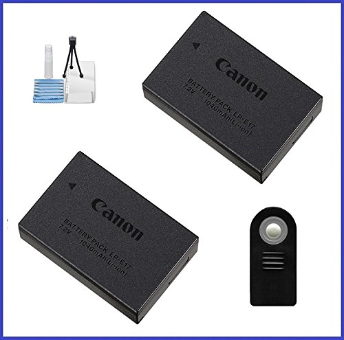 Canon LP-E17 Battery Pack for EOS Rebel T6i, T6s and EOS M3, M5 Digital Cameras - 2 Pieces + Remote Control + Camera Starter Kit