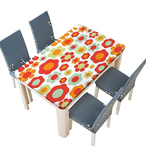 PINAFORE Fitted Polyester Tablecloth Life is Goofy Petals of Retro Colors Stylized Art Past Dated Style Revival Washable for Tablecloth W29.5 x L69 INCH (Elastic Edge)