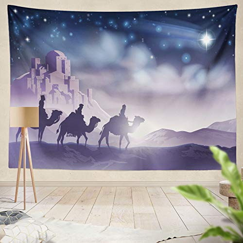 Summor Tapestry Nativity Christmas Three Wise Men Journey Star City Three Wise Christmas Nativity Scene Hanging Tapestries 60 x 80 inch Wall Hanging Decor for Bedroom Livingroom Dorm