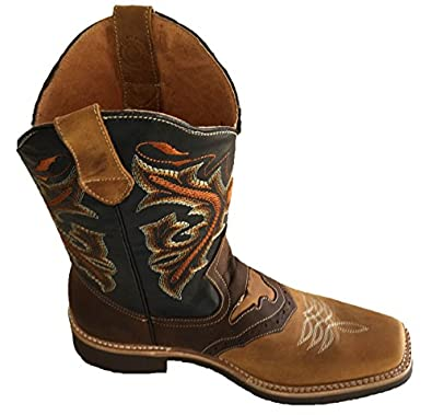 Amazon.com | Men's Genuine Cow Hide Leather Cowboy Boots Square ...