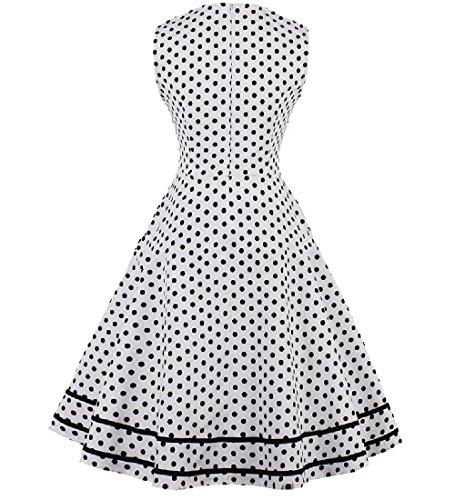 Coolred-femmes Gros Pois Rétro Pendule Col Robe De Soirée Blanche Décontractée