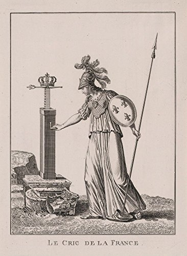 1795 Photo Le cric de la France Allegorical print shows a female figure representing France wearing a helmet, breastplate, and shield emblazoned with fleur-de-lis, and holding a spear which rests on a