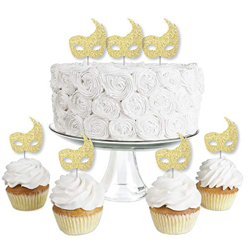 Masquerade Mask Cupcake Picks (Gold Glitter Masks - No-Mess Real Gold Glitter Dessert Cupcake Toppers - Mardi Gras Masquerade Party Clear Treat Picks - Set of)