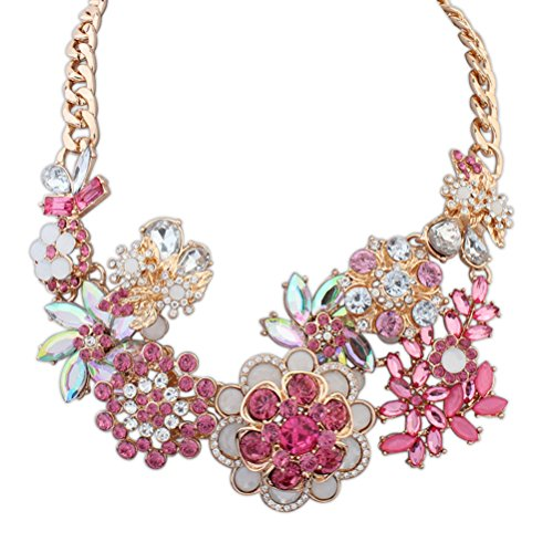 [Bao Style Charming Fashion Crystal Flower Exaggerated Pendant Necklace(Pink)] (Egyptian Gods Costume For Kids)