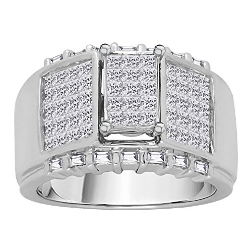 KATARINA Baguette and Princess Cut Diamond Men's Ring in 14K White Gold (2 cttw, G-H, VS2-SI1) (Size-10.75)