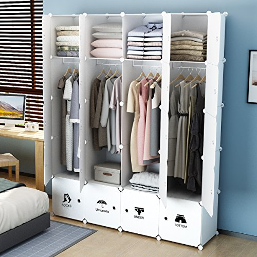 KOUSI Portable Closet Clothes Wardrobe Bedroom Armoire Storage Organizer with Doors, Capacious & Sturdy. 8 cubes+4 Hanging Sections, (Bedroom Wardrobe Doors)