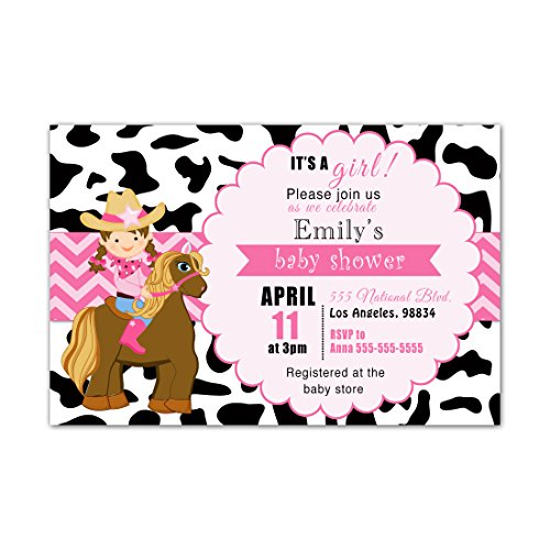 30 Invitations Pink Cowgirl Party Girl Birthday Baby Shower Personalized Cards Photo Paper