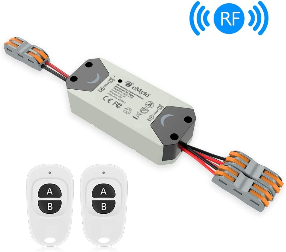 eMylo Smart Wireless RF Switch DC 12V Interruptor de control remoto de 2 canales 5V-24V Interruptor de relé de RF Domótica 433 MHz con dos transmisores 1 paquete