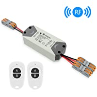 eMylo Smart Relay Switch Wireless RF DC 12V Two 2-Channel Remote Control Switch 5V-24V RF Relay Switch Home Automation 433Mhz with Two Transmitters 1 Pack