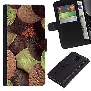 [Neutron-Star] Modelo colorido cuero de la carpeta del tirón del caso cubierta piel Holster Funda protecció Para Samsung Galaxy Note 4 IV [Hojas de otoño verde marrón]